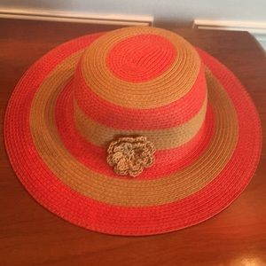 Janie and jack beach sun hat coral and tan stripes